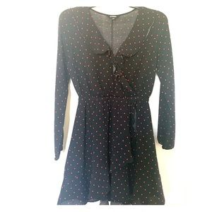 Long sleeve Black Dress with Red Dots
